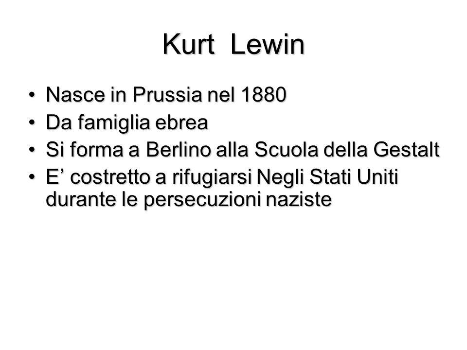 Kurt Lewin Nasce in Prussia nel 1880Nasce in Prussia nel 1880 Da famiglia ebreaDa famiglia ebrea Si forma a Berlino alla Scuola della GestaltSi forma