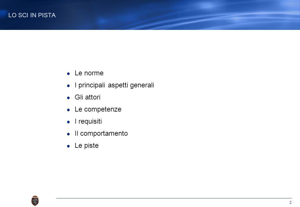 2 Le norme I principali aspetti generali Gli attori Le competenze I requisiti Il comportamento Le piste LO SCI IN PISTA
