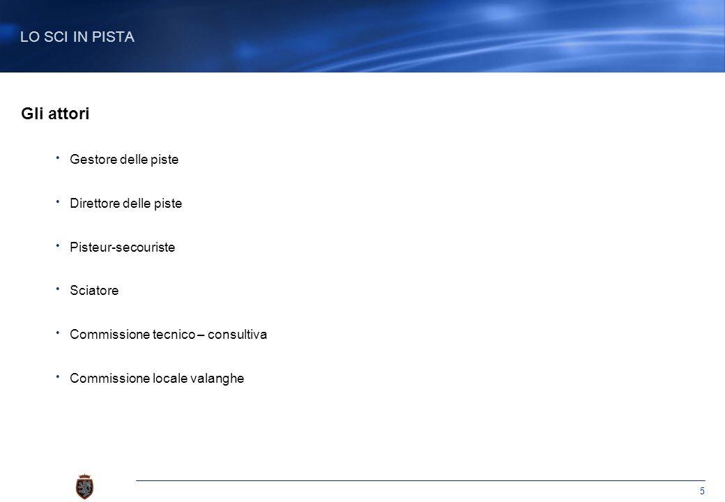 5 Gli attori Gestore delle piste Direttore delle piste Pisteur-secouriste Sciatore Commissione tecnico – consultiva Commissione locale valanghe LO SCI IN PISTA