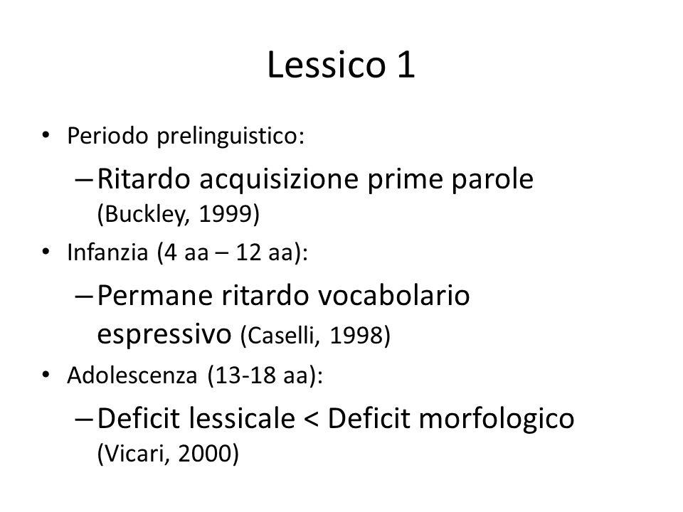 Lessico 1 Periodo prelinguistico: – Ritardo acquisizione prime parole (Buckley, 1999) Infanzia (4 aa – 12 aa): – Permane ritardo vocabolario espressiv