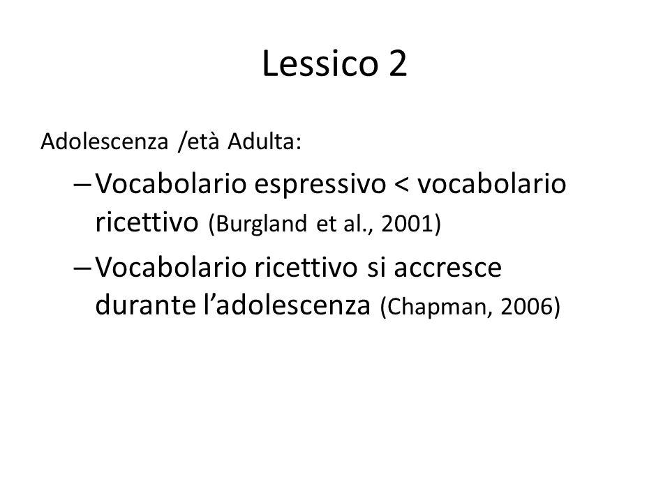 Lessico 2 Adolescenza /età Adulta: – Vocabolario espressivo < vocabolario ricettivo (Burgland et al., 2001) – Vocabolario ricettivo si accresce durant