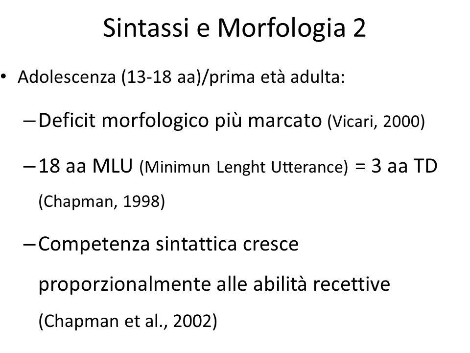Sintassi e Morfologia 2 Adolescenza (13-18 aa)/prima età adulta: – Deficit morfologico più marcato (Vicari, 2000) – 18 aa MLU (Minimun Lenght Utteranc