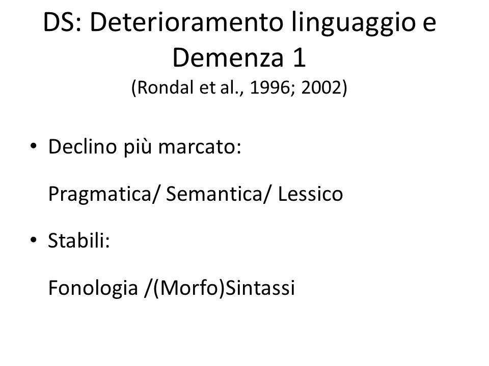 DS: Deterioramento linguaggio e Demenza 1 (Rondal et al., 1996; 2002) Declino più marcato: Pragmatica/ Semantica/ Lessico Stabili: Fonologia /(Morfo)S