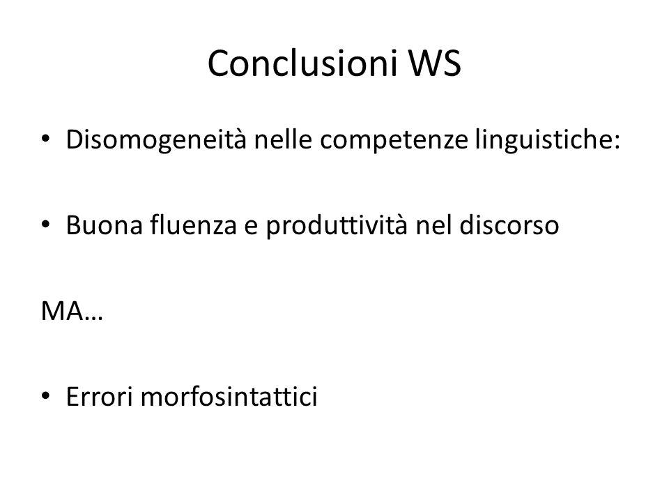 Conclusioni WS Disomogeneità nelle competenze linguistiche: Buona fluenza e produttività nel discorso MA… Errori morfosintattici