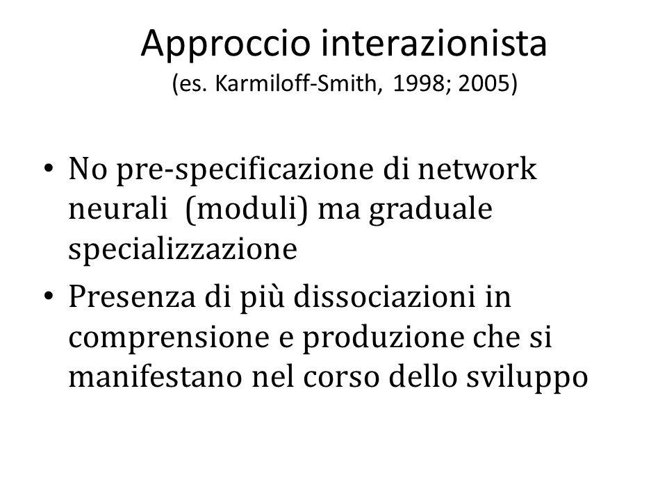 Approccio interazionista (Johnson, 1999; Karmiloff-Smith, 1998) Plasticità Interattività Compensazione Ambiente