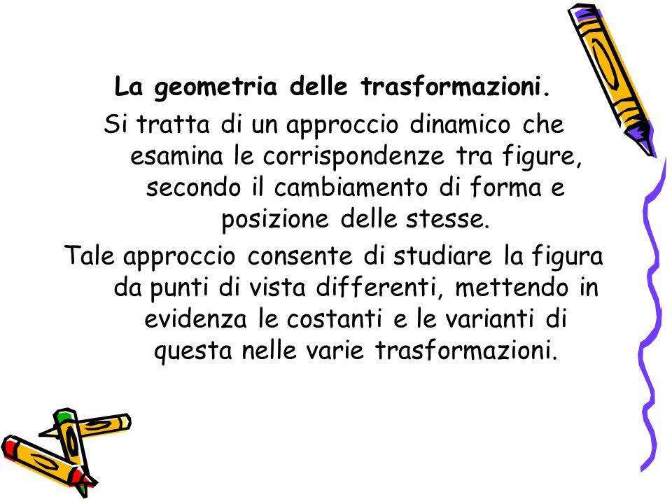 La geometria delle trasformazioni. Si tratta di un approccio dinamico che esamina le corrispondenze tra figure, secondo il cambiamento di forma e posi
