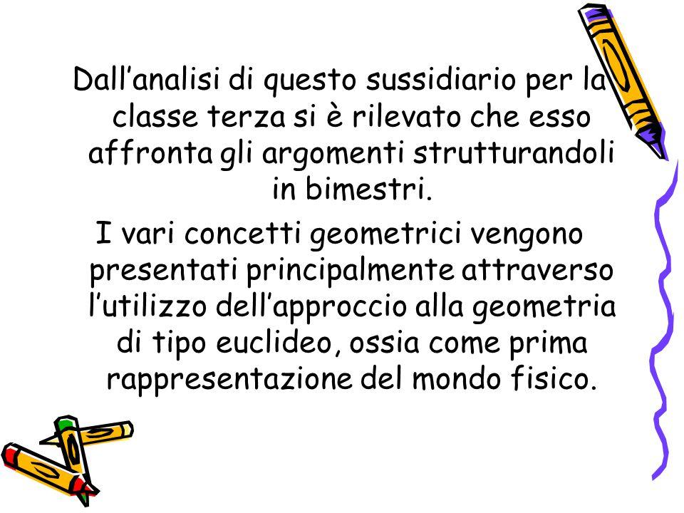 Dall'analisi di questo sussidiario per la classe terza si è rilevato che esso affronta gli argomenti strutturandoli in bimestri. I vari concetti geome