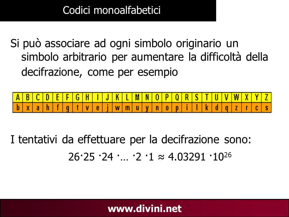 00 AN 11 www.divini.net Codici monoalfabetici Si può associare ad ogni simbolo originario un simbolo arbitrario per aumentare la difficoltà della deci