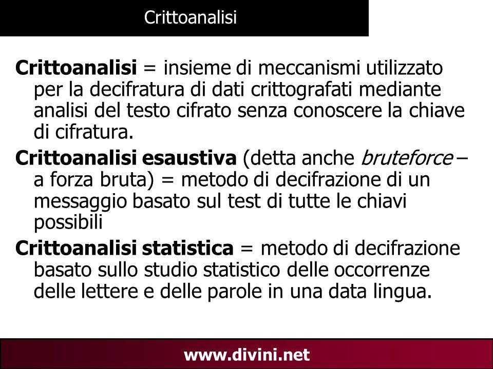 00 AN 16 www.divini.net Crittoanalisi Crittoanalisi = insieme di meccanismi utilizzato per la decifratura di dati crittografati mediante analisi del t