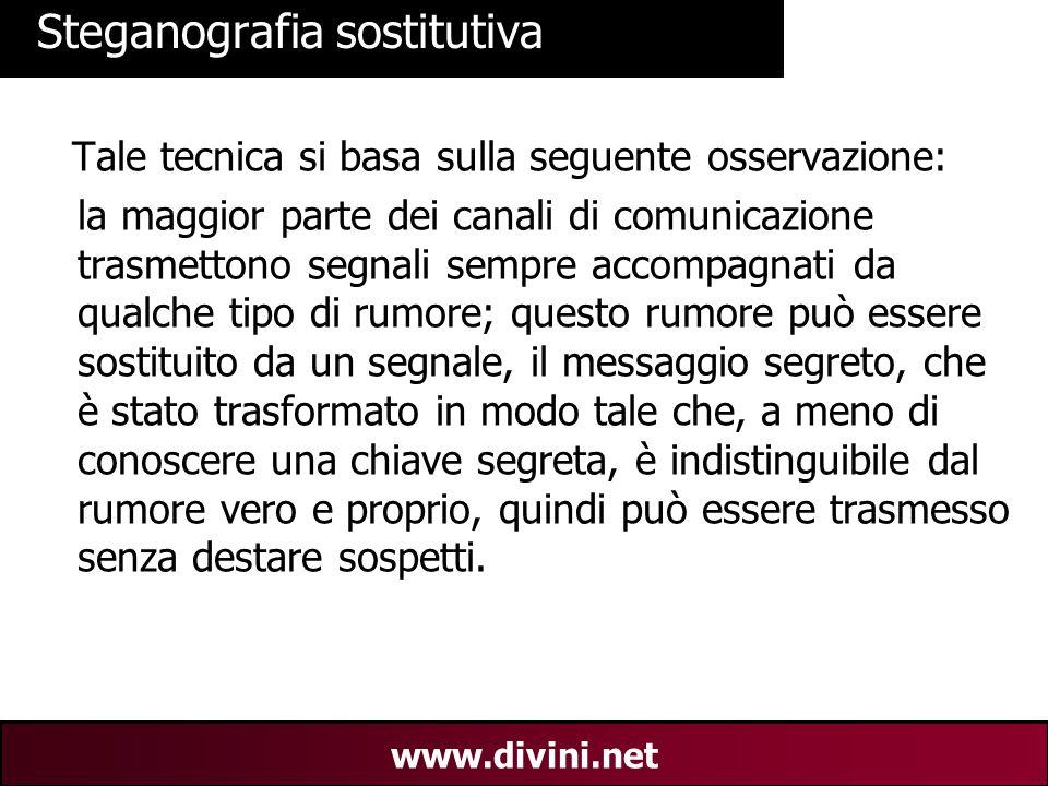 00 AN 18 www.divini.net Steganografia sostitutiva Tale tecnica si basa sulla seguente osservazione: la maggior parte dei canali di comunicazione trasm