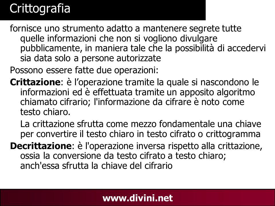 00 AN 2 www.divini.net Crittografia fornisce uno strumento adatto a mantenere segrete tutte quelle informazioni che non si vogliono divulgare pubblica