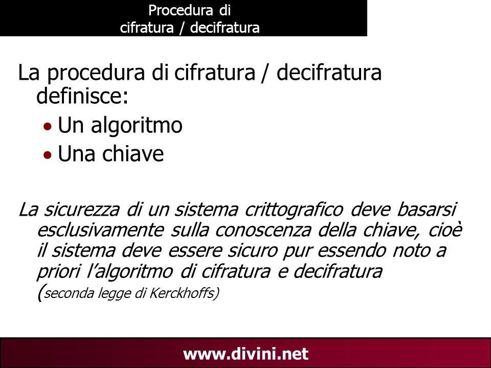 00 AN 4 www.divini.net Procedura di cifratura / decifratura La procedura di cifratura / decifratura definisce:  Un algoritmo  Una chiave La sicurezz