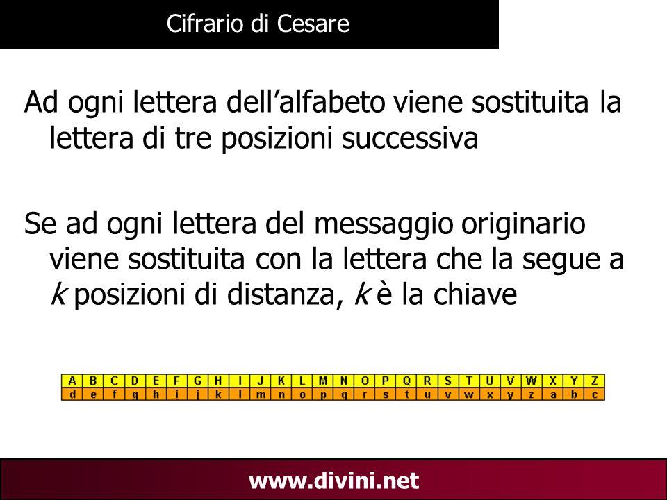 00 AN 6 www.divini.net Cifrario di Cesare Ad ogni lettera dell'alfabeto viene sostituita la lettera di tre posizioni successiva Se ad ogni lettera del