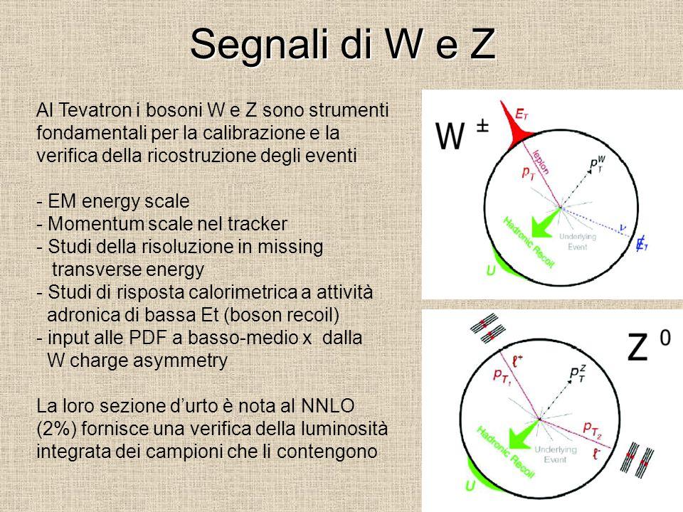 Segnali di W e Z Al Tevatron i bosoni W e Z sono strumenti fondamentali per la calibrazione e la verifica della ricostruzione degli eventi - EM energy scale - Momentum scale nel tracker - Studi della risoluzione in missing transverse energy - Studi di risposta calorimetrica a attività adronica di bassa Et (boson recoil) - input alle PDF a basso-medio x dalla W charge asymmetry La loro sezione d'urto è nota al NNLO (2%) fornisce una verifica della luminosità integrata dei campioni che li contengono