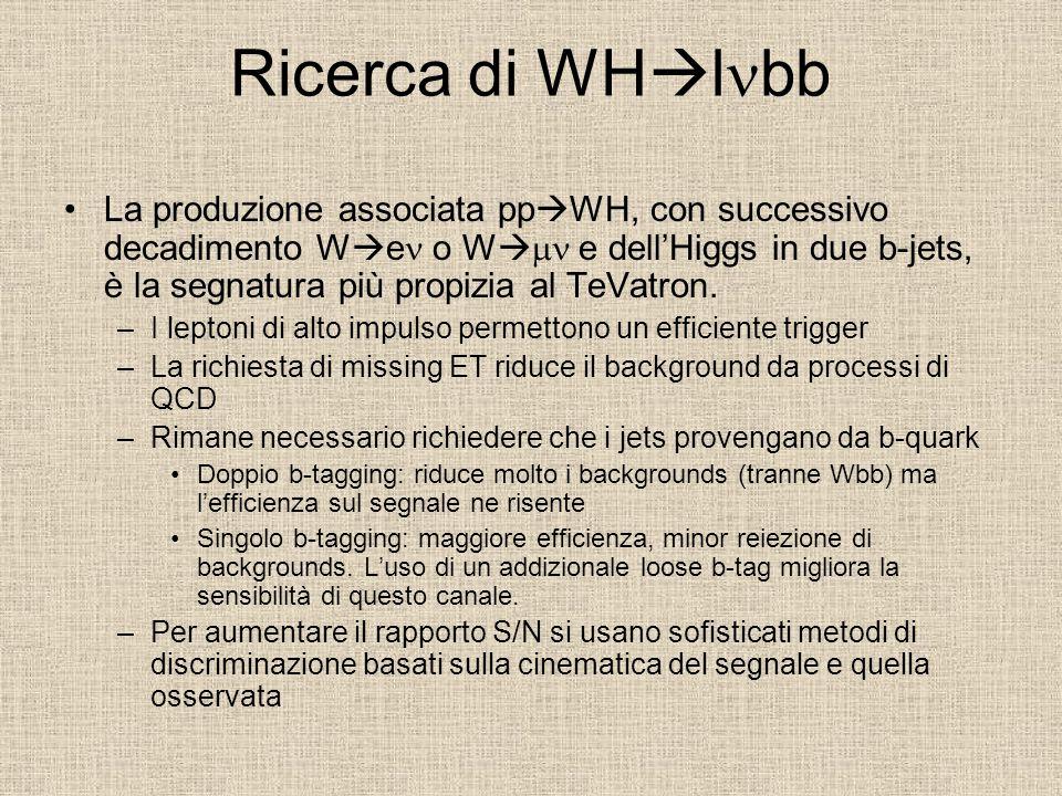 Ricerca di WH  l bb La produzione associata pp  WH, con successivo decadimento W  e o W   e dell'Higgs in due b-jets, è la segnatura più propizia al TeVatron.