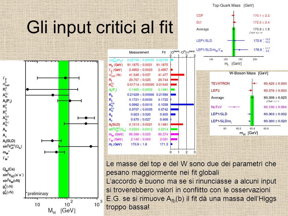 Gli input critici al fit Le masse del top e del W sono due dei parametri che pesano maggiormente nei fit globali L'accordo è buono ma se si rinunciass