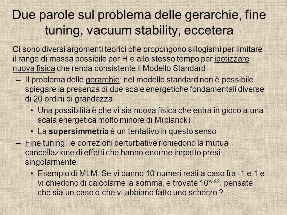 Due parole sul problema delle gerarchie, fine tuning, vacuum stability, eccetera Ci sono diversi argomenti teorici che propongono sillogismi per limit