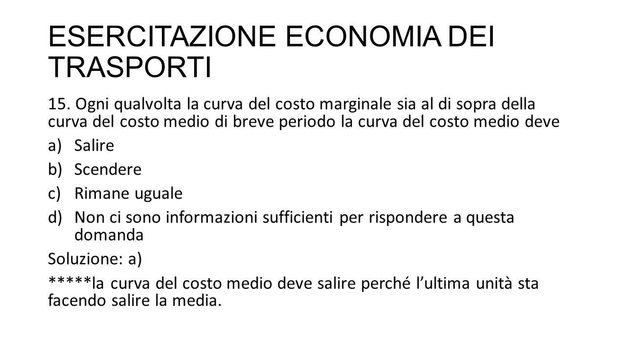 ESERCITAZIONE ECONOMIA DEI TRASPORTI 15.