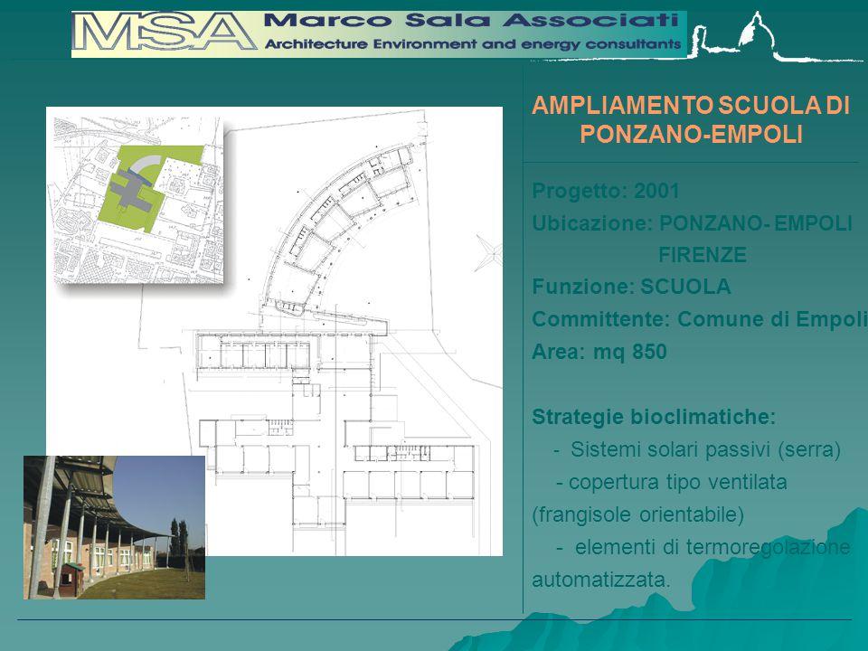 Progetto: 2001 Ubicazione: PONZANO- EMPOLI FIRENZE Funzione: SCUOLA Committente: Comune di Empoli Area: mq 850 Strategie bioclimatiche: - Sistemi solari passivi (serra) - copertura tipo ventilata (frangisole orientabile) - elementi di termoregolazione automatizzata.