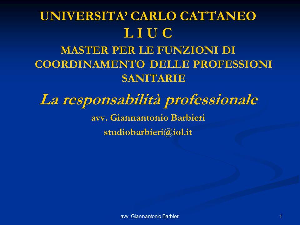 1avv. Giannantonio Barbieri UNIVERSITA' CARLO CATTANEO L I U C MASTER PER LE FUNZIONI DI COORDINAMENTO DELLE PROFESSIONI SANITARIE La responsabilità p