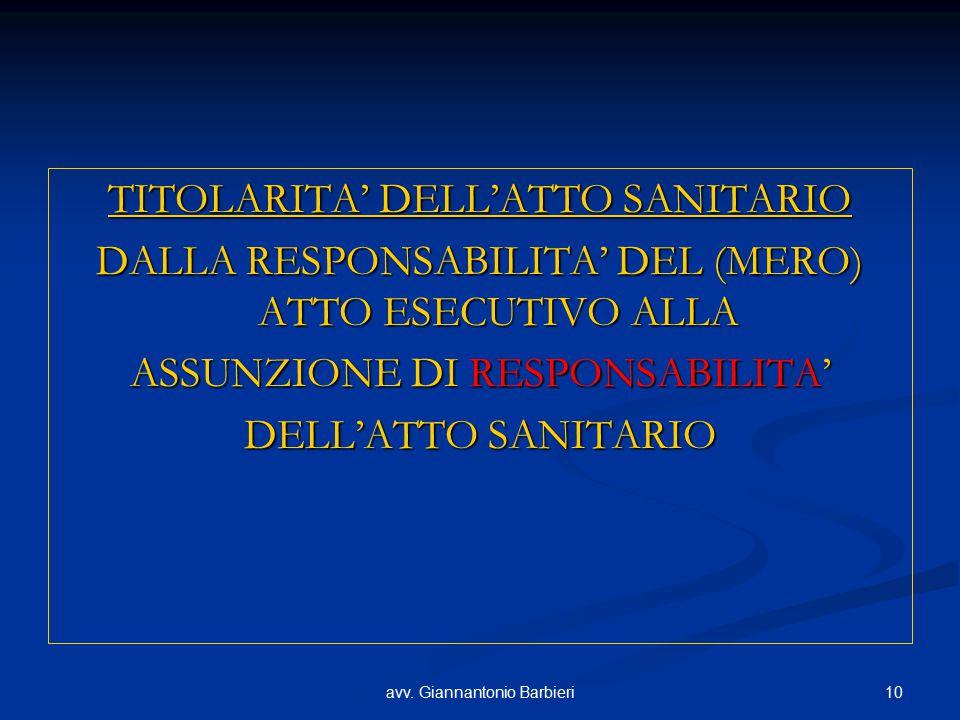 10avv. Giannantonio Barbieri TITOLARITA' DELL'ATTO SANITARIO DALLA RESPONSABILITA' DEL (MERO) ATTO ESECUTIVO ALLA ASSUNZIONE DI RESPONSABILITA' DELL'A