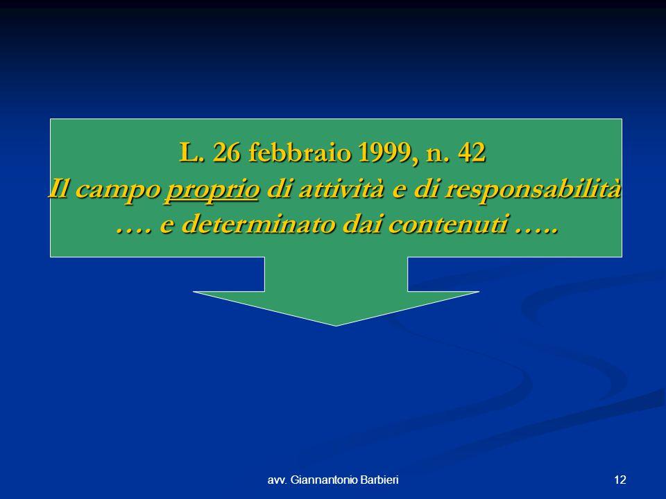 12avv. Giannantonio Barbieri12avv. Giannantonio Barbieri L. 26 febbraio 1999, n. 42 Il campo proprio di attività e di responsabilità …. e determinato