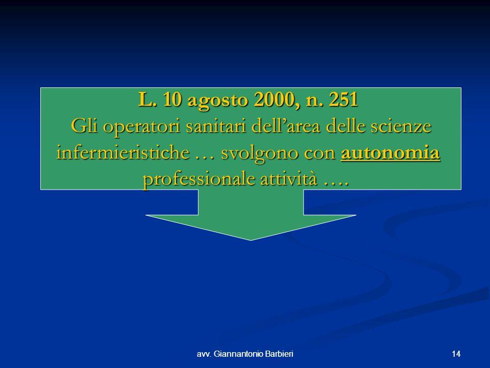 14avv. Giannantonio Barbieri14avv. Giannantonio Barbieri L. 10 agosto 2000, n. 251 Gli operatori sanitari dell'area delle scienze infermieristiche … s