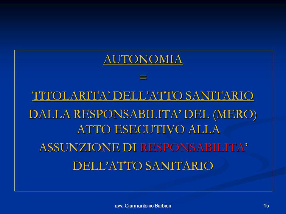15avv. Giannantonio Barbieri15avv. Giannantonio Barbieri AUTONOMIA= TITOLARITA' DELL'ATTO SANITARIO DALLA RESPONSABILITA' DEL (MERO) ATTO ESECUTIVO AL