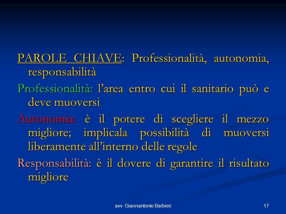 17avv. Giannantonio Barbieri PAROLE CHIAVE: Professionalità, autonomia, responsabilità Professionalità: l'area entro cui il sanitario può e deve muove