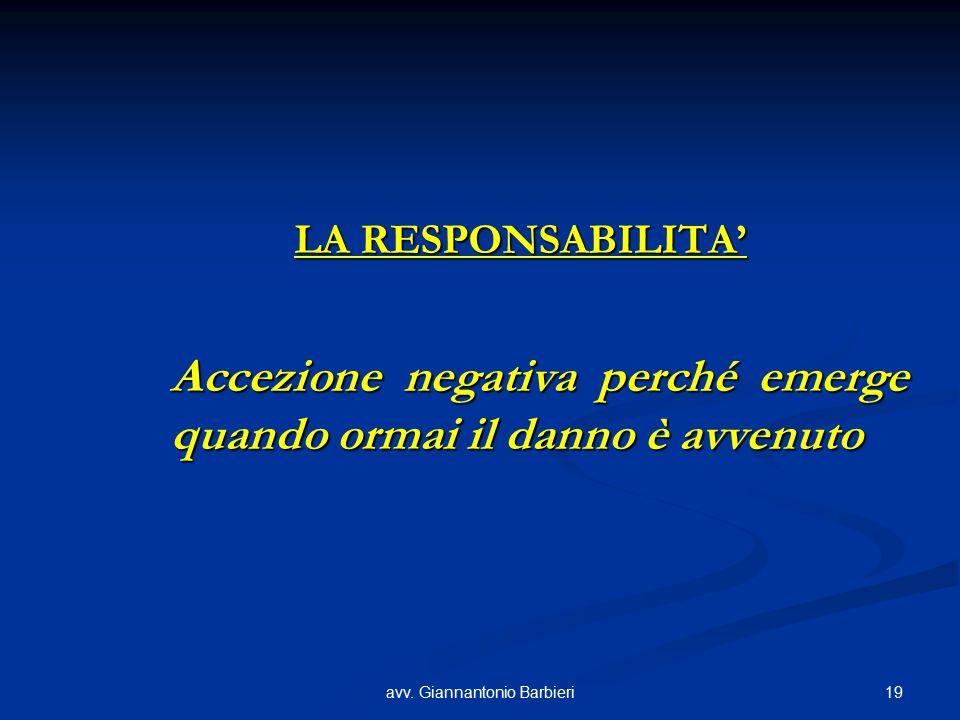 19avv. Giannantonio Barbieri LA RESPONSABILITA' Accezione negativa perché emerge quando ormai il danno è avvenuto