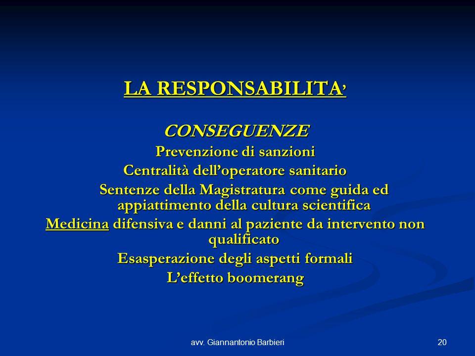 20avv. Giannantonio Barbieri LA RESPONSABILITA ' CONSEGUENZE Prevenzione di sanzioni Centralità dell'operatore sanitario Sentenze della Magistratura c