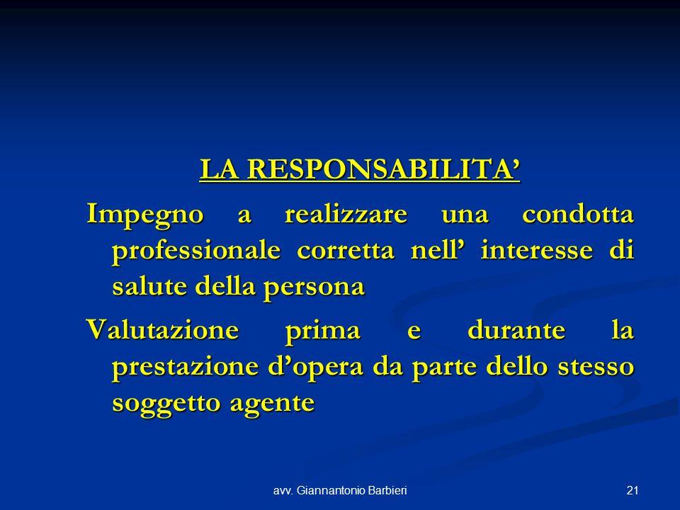 21avv. Giannantonio Barbieri LA RESPONSABILITA' Impegno a realizzare una condotta professionale corretta nell' interesse di salute della persona Valut
