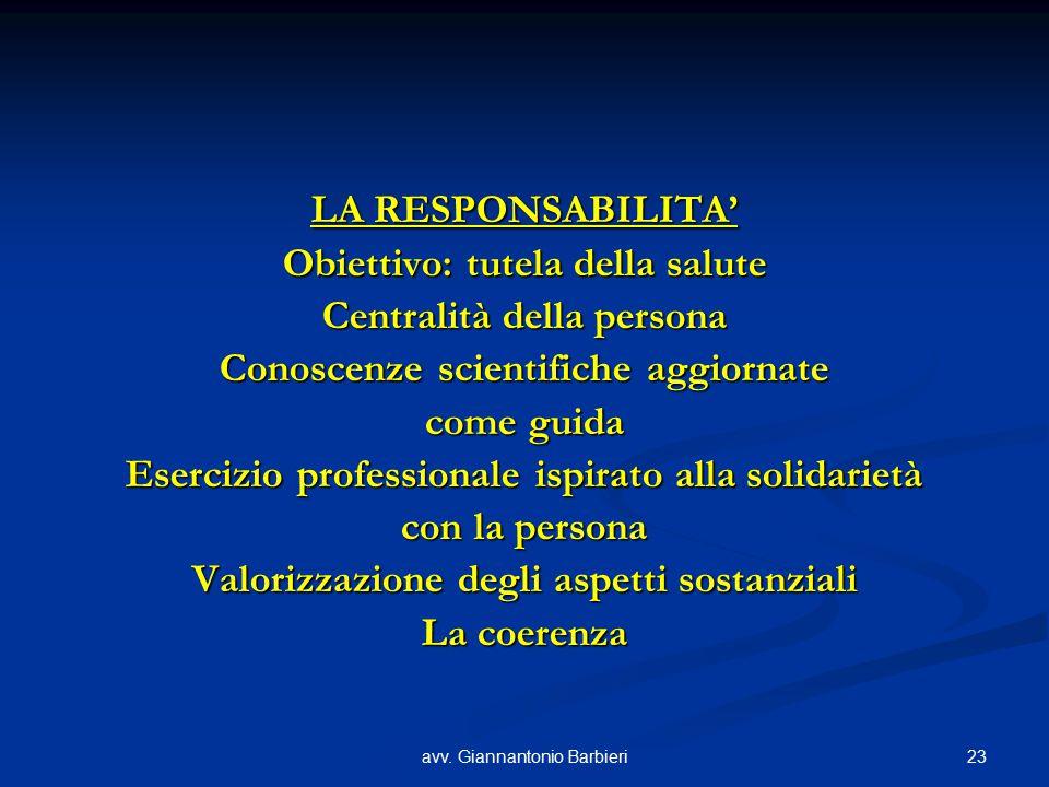 23avv. Giannantonio Barbieri LA RESPONSABILITA' Obiettivo: tutela della salute Centralità della persona Conoscenze scientifiche aggiornate come guida