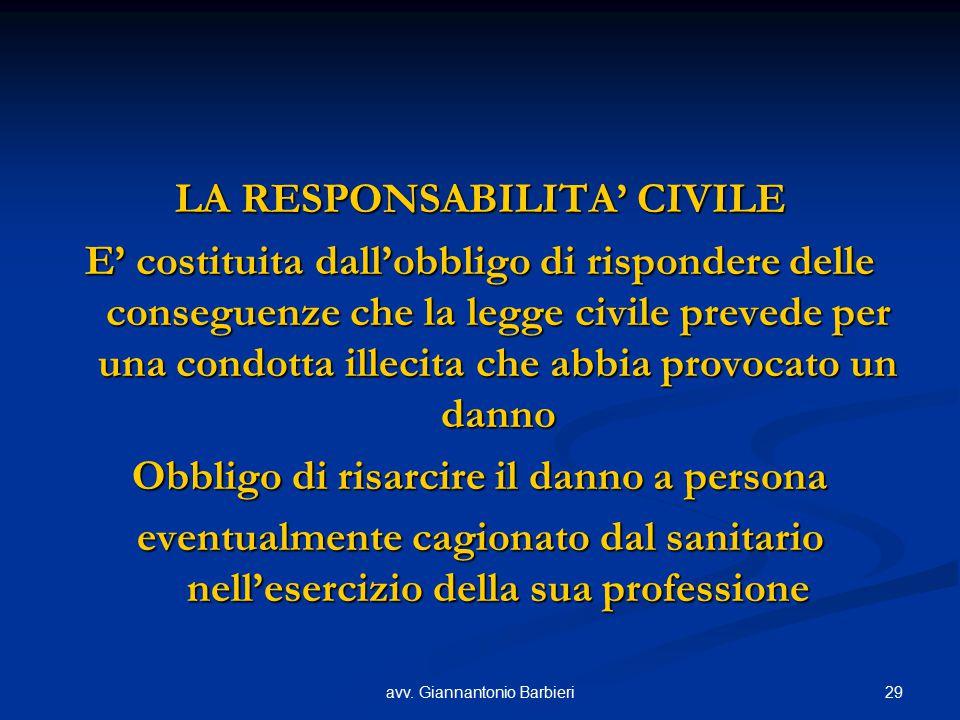29avv. Giannantonio Barbieri LA RESPONSABILITA' CIVILE E' costituita dall'obbligo di rispondere delle conseguenze che la legge civile prevede per una