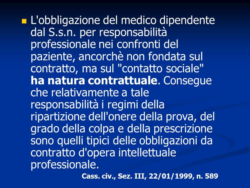 L'obbligazione del medico dipendente dal S.s.n. per responsabilità professionale nei confronti del paziente, ancorchè non fondata sul contratto, ma su