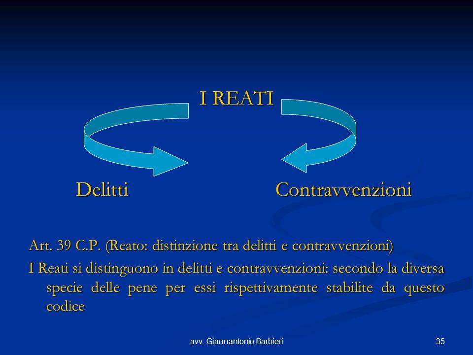 35avv. Giannantonio Barbieri I REATI Delitti Contravvenzioni Art. 39 C.P. (Reato: distinzione tra delitti e contravvenzioni) I Reati si distinguono in