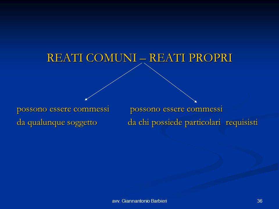 36avv. Giannantonio Barbieri REATI COMUNI – REATI PROPRI possono essere commessi possono essere commessi da qualunque soggetto da chi possiede partico