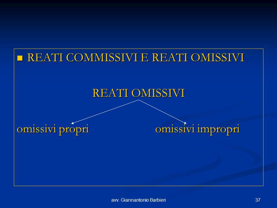 37avv. Giannantonio Barbieri REATI COMMISSIVI E REATI OMISSIVI REATI COMMISSIVI E REATI OMISSIVI REATI OMISSIVI omissivi propriomissivi impropri