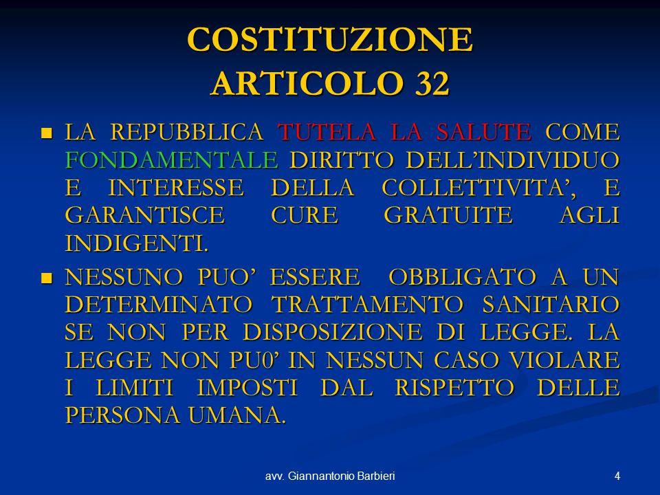 4avv. Giannantonio Barbieri COSTITUZIONE ARTICOLO 32 LA REPUBBLICA TUTELA LA SALUTE COME FONDAMENTALE DIRITTO DELL'INDIVIDUO E INTERESSE DELLA COLLETT