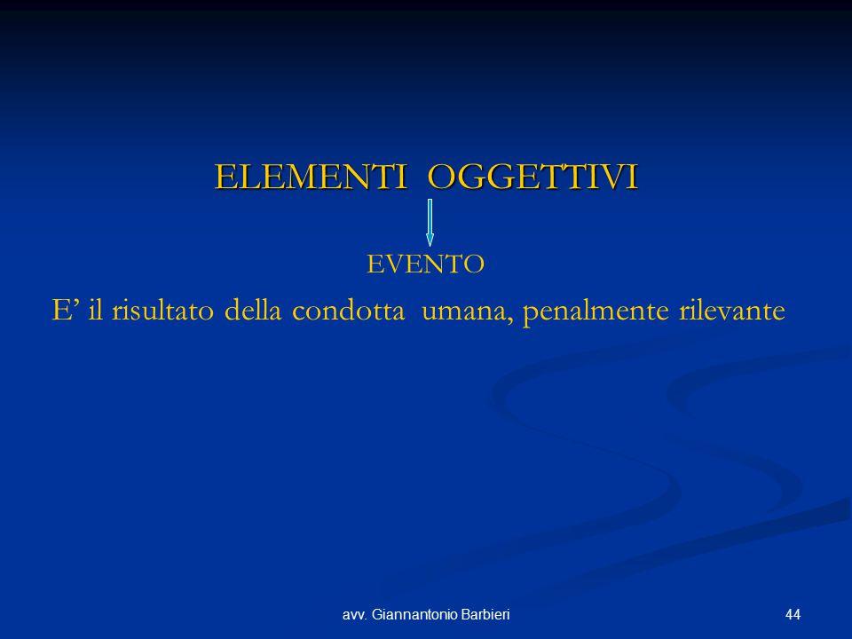 44avv. Giannantonio Barbieri ELEMENTI OGGETTIVI EVENTO E' il risultato della condotta umana, penalmente rilevante
