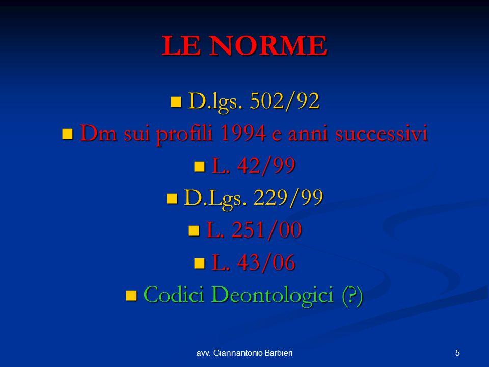 5avv. Giannantonio Barbieri LE NORME D.lgs. 502/92 D.lgs. 502/92 Dm sui profili 1994 e anni successivi Dm sui profili 1994 e anni successivi L. 42/99