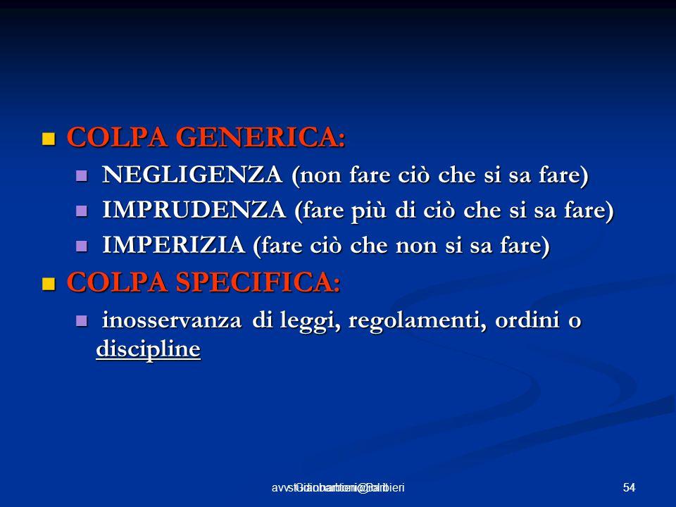 54avv. Giannantonio Barbieri54studiobarbieri@iol.it COLPA GENERICA: COLPA GENERICA: NEGLIGENZA (non fare ciò che si sa fare) NEGLIGENZA (non fare ciò