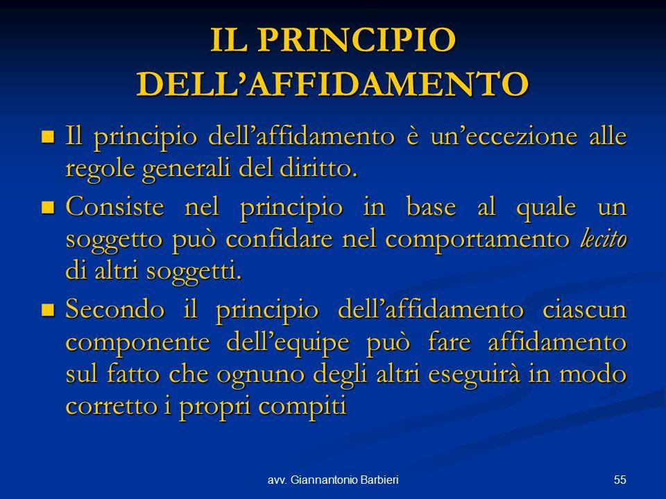 55avv. Giannantonio Barbieri IL PRINCIPIO DELL'AFFIDAMENTO Il principio dell'affidamento è un'eccezione alle regole generali del diritto. Il principio