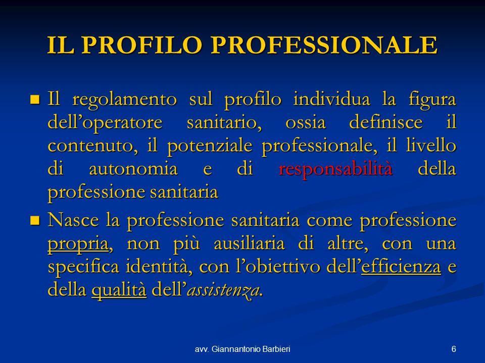 6avv. Giannantonio Barbieri IL PROFILO PROFESSIONALE Il regolamento sul profilo individua la figura dell'operatore sanitario, ossia definisce il conte