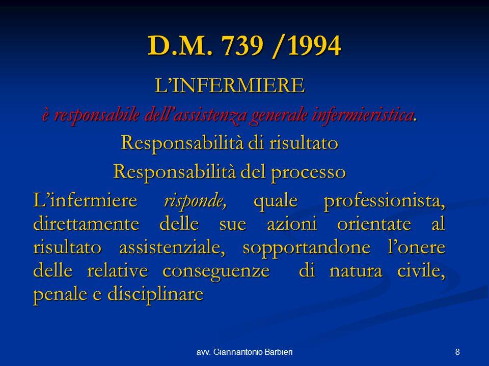 8avv. Giannantonio Barbieri D.M. 739 /1994 L'INFERMIERE è responsabile dell'assistenza generale infermieristica. Responsabilità di risultato Responsab