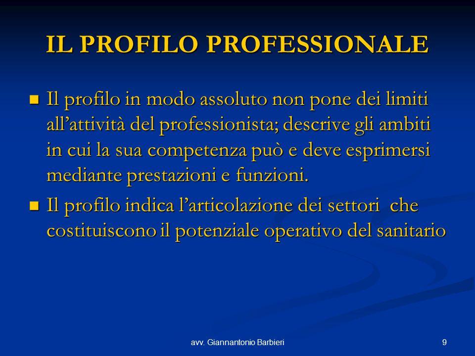 9avv. Giannantonio Barbieri IL PROFILO PROFESSIONALE Il profilo in modo assoluto non pone dei limiti all'attività del professionista; descrive gli amb