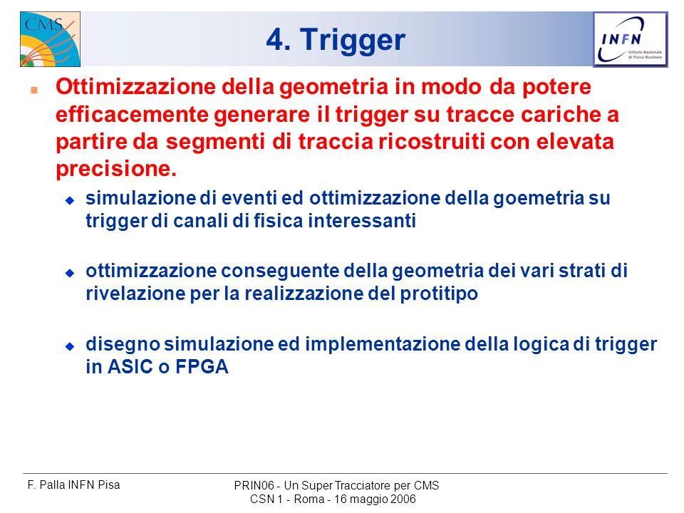 F. Palla INFN Pisa CSN 1 - Roma - 16 maggio 2006 PRIN06 - Un Super Tracciatore per CMS 4.