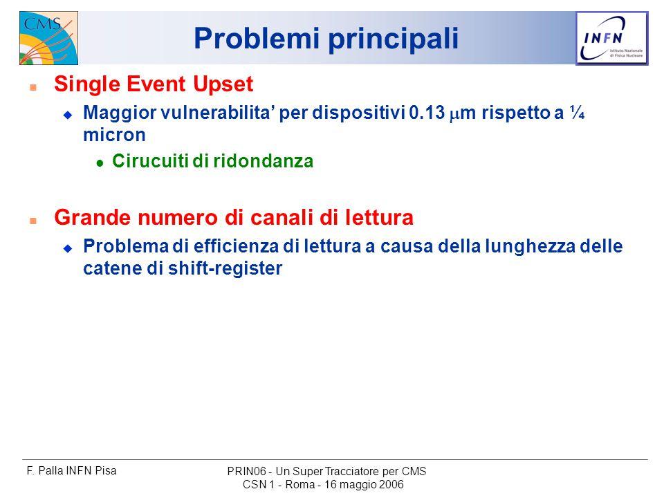 F. Palla INFN Pisa CSN 1 - Roma - 16 maggio 2006 PRIN06 - Un Super Tracciatore per CMS Problemi principali n Single Event Upset  Maggior vulnerabilit
