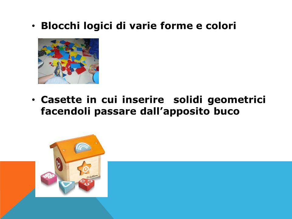 Blocchi logici di varie forme e colori Casette in cui inserire solidi geometrici facendoli passare dall'apposito buco