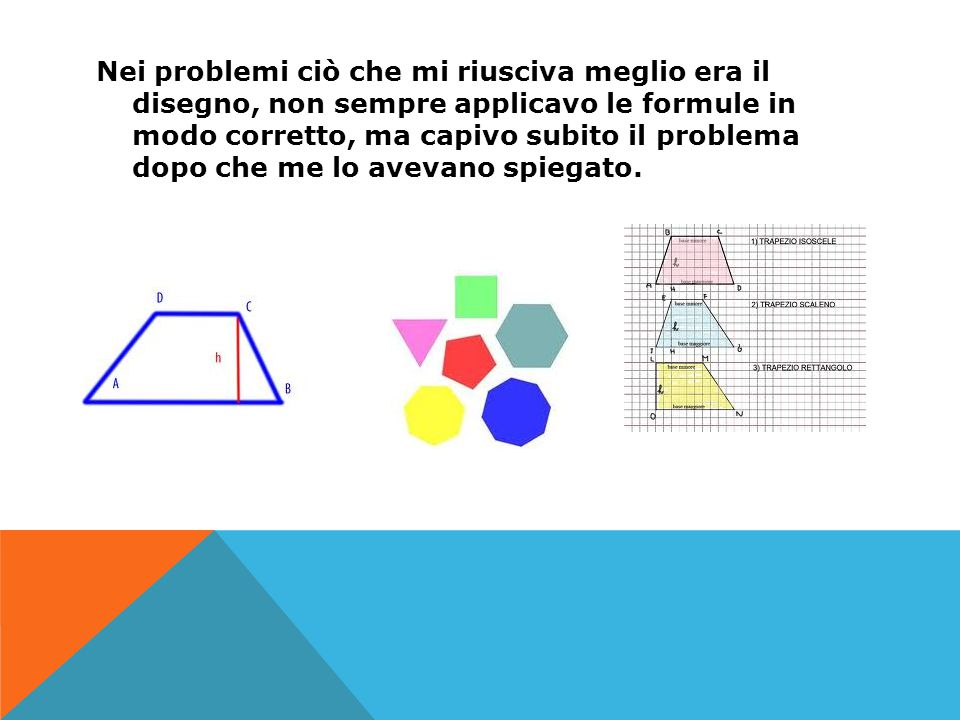 Nei problemi ciò che mi riusciva meglio era il disegno, non sempre applicavo le formule in modo corretto, ma capivo subito il problema dopo che me lo
